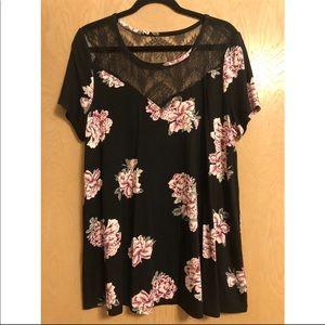 Torrid Floral Short Sleeve Lace Top